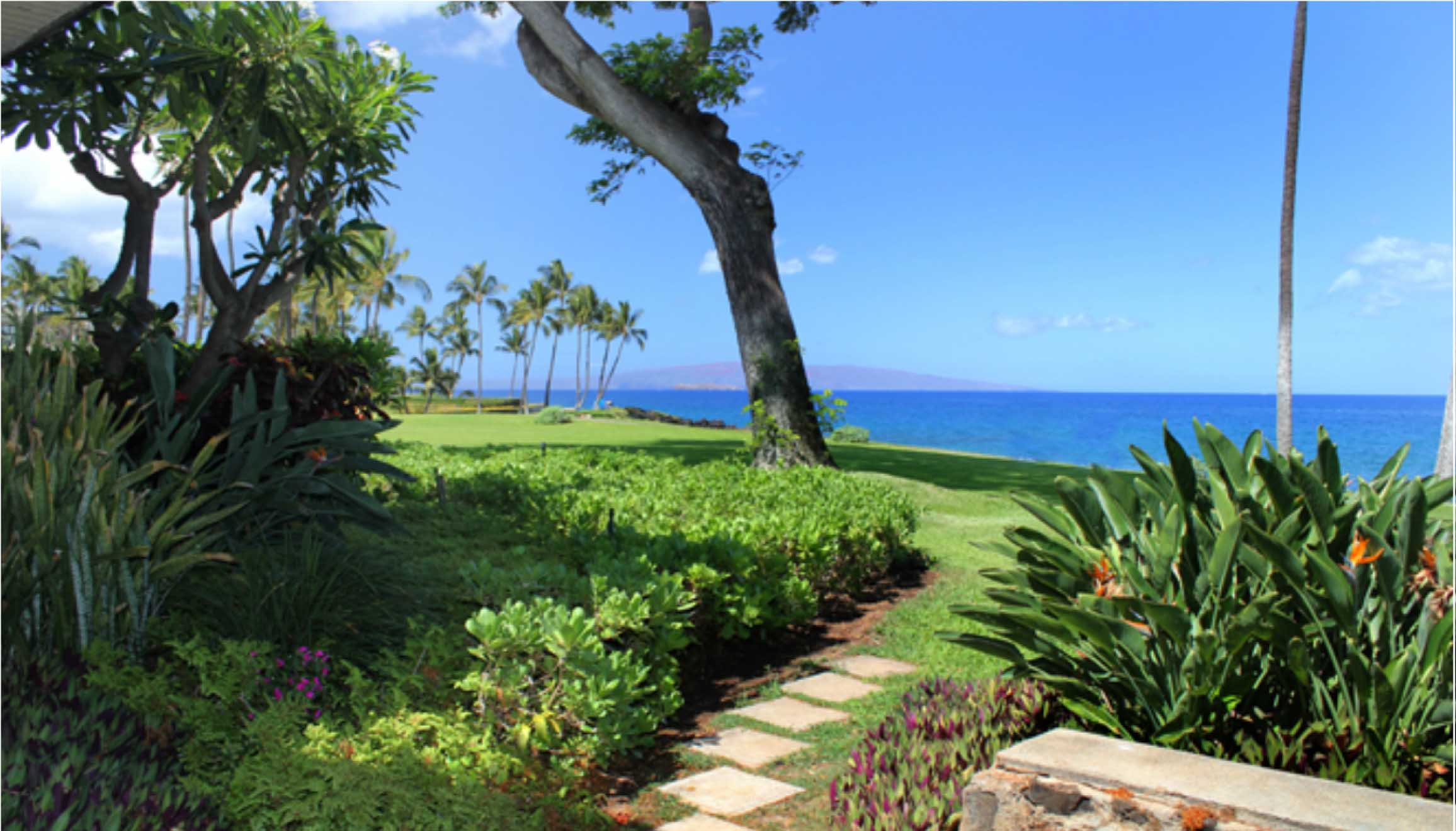 Walk on grassy lawn from deck to beach