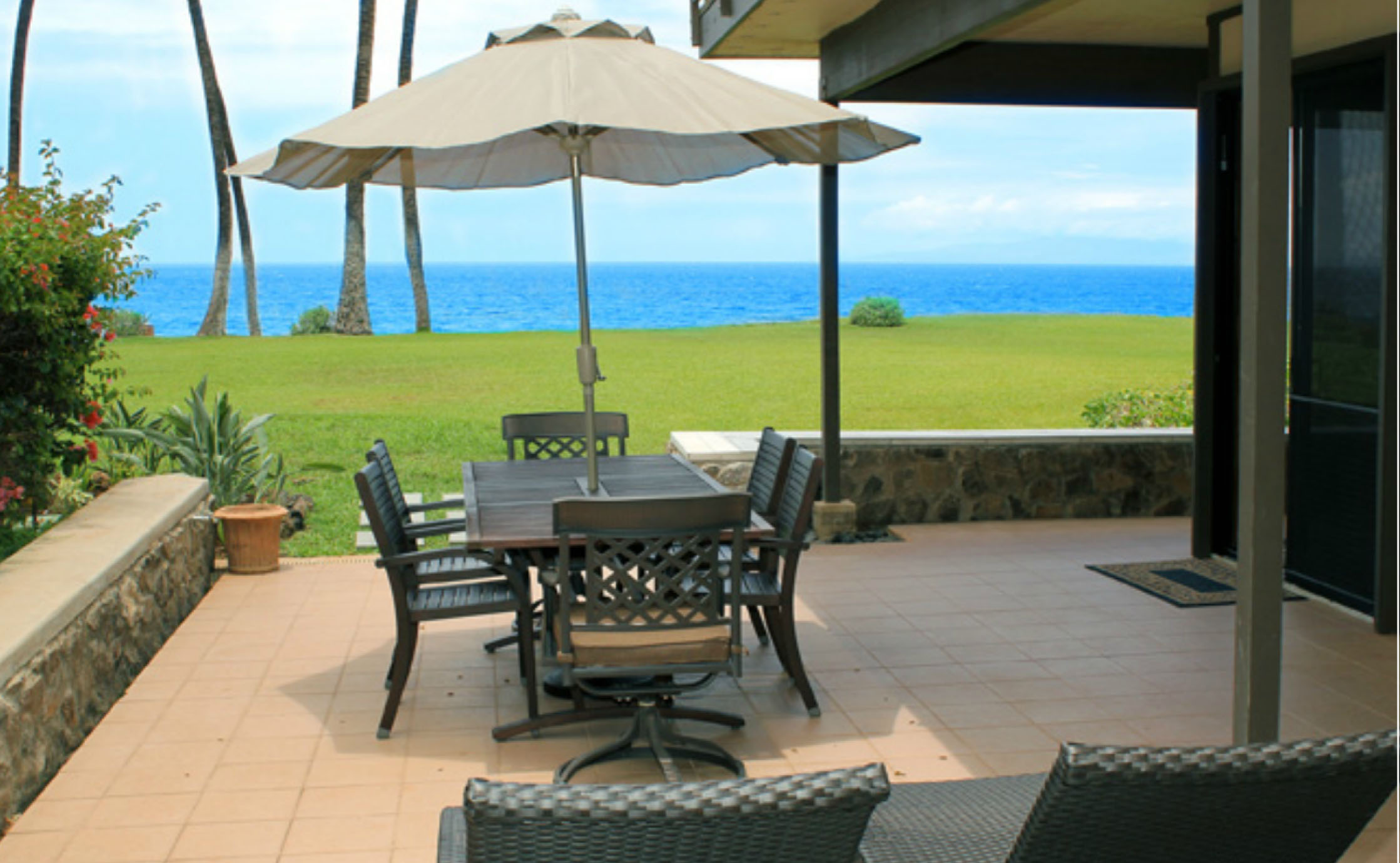 Private oceanfront deck, walk to grassy lawn