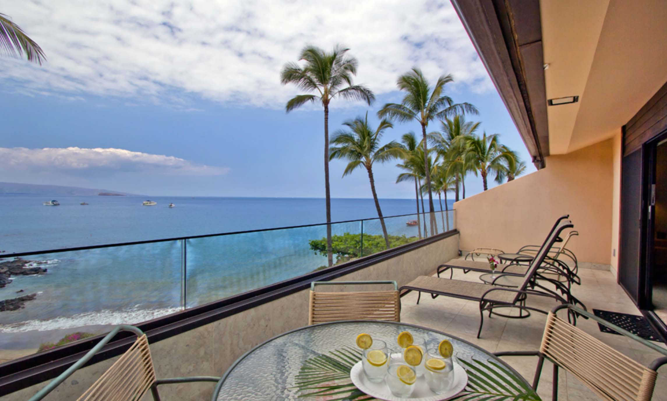 Private deck, lounge chairs, oceanview