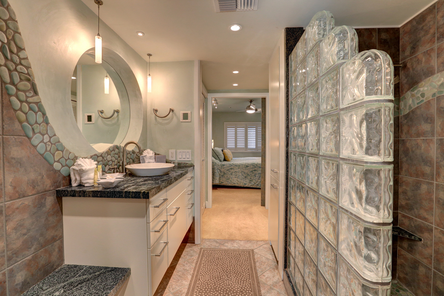 Master bathroom, custom shower