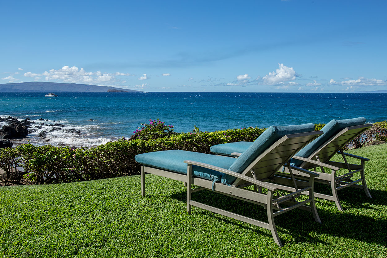 Lounge chairs, oceanfront lawn