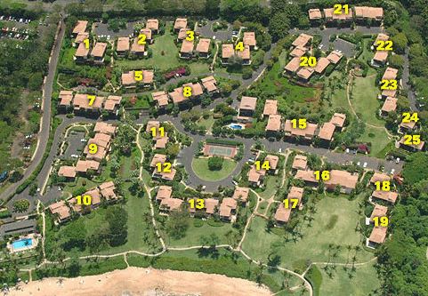 Wailea Elua property layout with units numbered